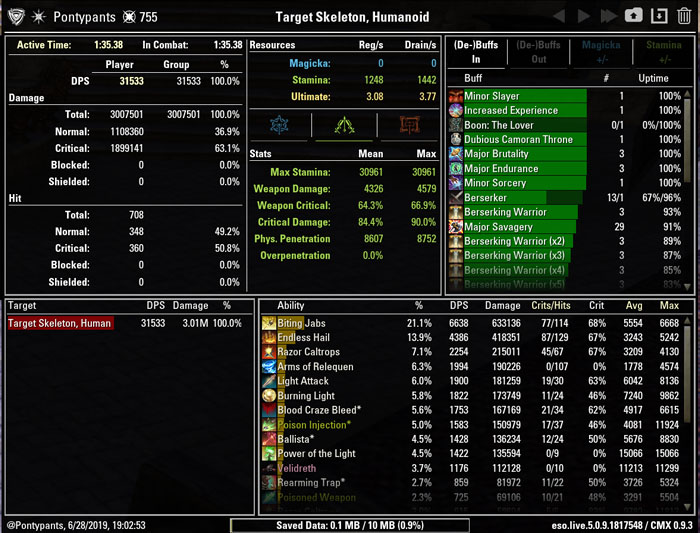 Combat Metrics addon ESO main interface