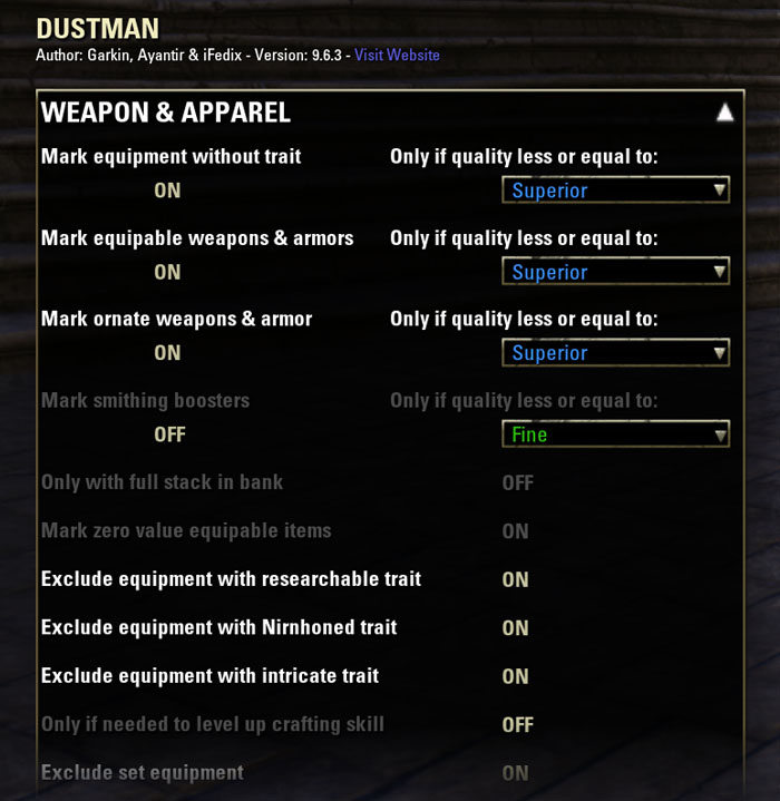 Dustman ESO addon settings