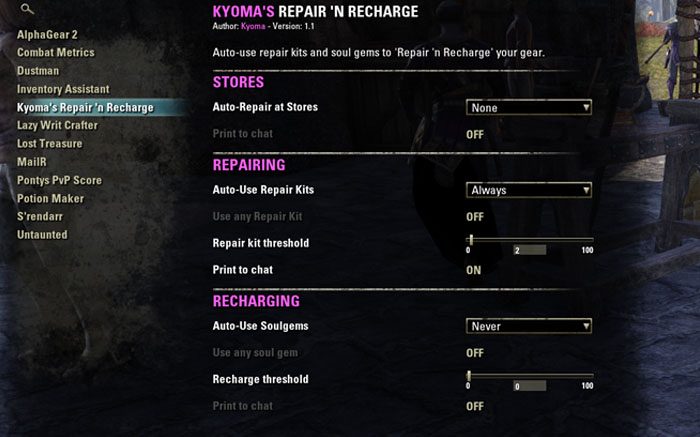 Kyomas Repair N Recharge Addon Interface