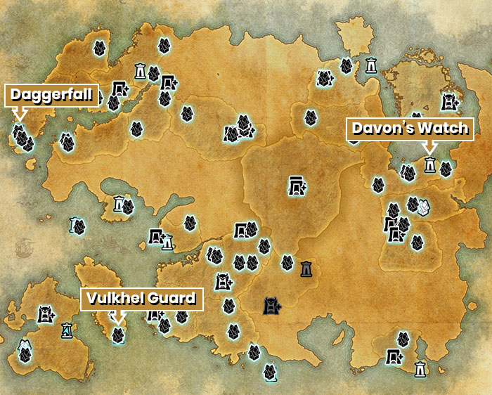 Map of the capital cities in the elder scrolls online
