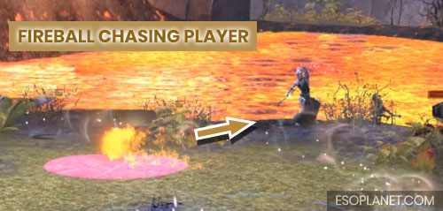 ESO Bloodroot Forge Guide Fourth Boss Shalk Fireball chasing player