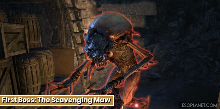 ESO Depths of Malatar Dungeon Guide - First Boss The Scavenging Maw
