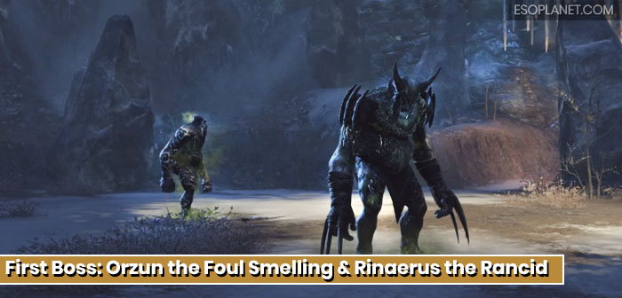 ESO Scalecaller Peak First Boss Orzun the foul smelling and Rinaerus the rancid