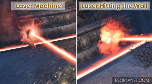 ESO Dungeon Guide Frostvault - Third Boss Lasers hitting the wall and emitting machine